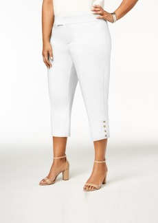Charter Club Plus Size Cropped Button-Hem Capri Pants, Created for Macy's