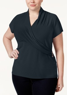 Charter Club Plus Size Crossover Wrap Top, Only at Macy's
