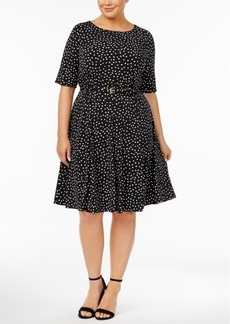 Charter Club Plus Size Dot-Print Belted Dress, Created for Macy's