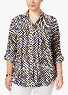 Charter Club Plus Size Dot-Print Blouse, Only at Macy's
