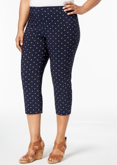 Charter Club Plus Size Dot-Print Capri Pants, Created for Macy's