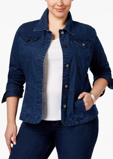 Charter Club Plus Size Dot-Print Denim Jacket, Only at Macy's