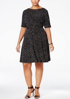 Charter Club Plus Size Dot-Print Fit & Flare Dress, Only at Macy's