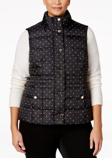 Charter Club Plus Size Dot-Print Puffer Vest, Only at Macy's