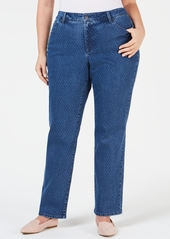 Charter Club Plus Size Dot-Print Tummy-Control Jeans, Created for Macy's