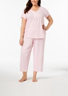 399185e9eb92 Charter Club Charter Club Plus Size Printed Picot-Trim Pajama Set ...