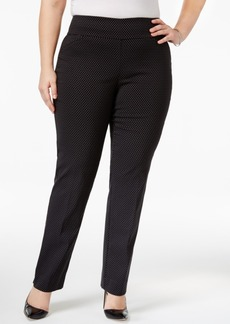 Charter Club Plus Size Dotted Jacquard Tummy-Control Pants, Only at Macy's
