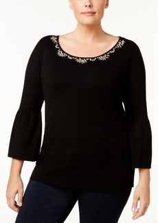 Charter Club Plus Size Embellished Bell-Sleeve Sweater, Created for Macy's