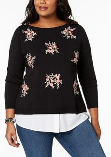 Charter Club Plus Size Embellished Layered-Look Sweater, Created for Macy's