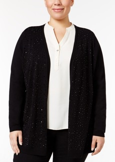 Charter Club Plus Size Embellished Open-Front Cardigan, Only at Macy's