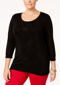 Charter Club Plus Size Embellished Sweater, Only at Macy's