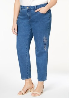 Charter Club Plus Size Embroidered Ankle-Length Jeans, Created for Macy's