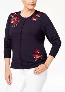 Charter Club Plus Size Embroidered Cardigan, Created for Macy's