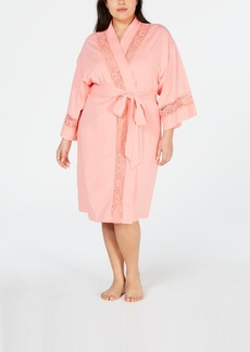 Charter Club Plus-Size Embroidered Lace Knit Robe, Created for Macy's
