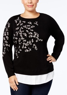 Charter Club Plus Size Embroidered Layered-Look Sweater, Created for Macy's