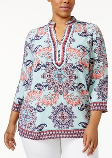 Charter Club Plus Size Embroidered Printed Tunic, Only at Macy's