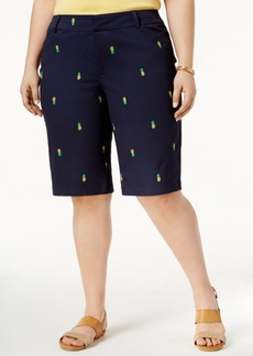 Charter Club Plus Size Embroidered Twill Shorts, Only at Macy's