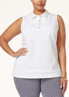 Charter Club Plus Size Eyelet Polo Shirt, Only at Macy's