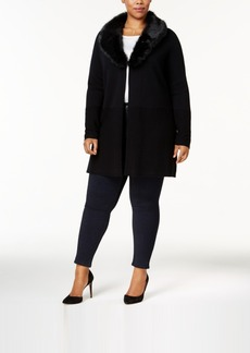 Charter Club Plus Size Faux-Fur-Collar Cardigan, Created for Macy's