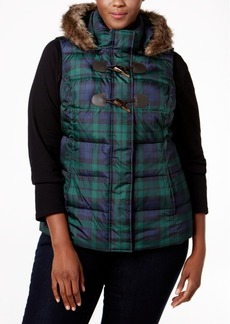 Charter Club Plus Size Faux-Fur-Trim Plaid Puffer Vest, Only at Macy's
