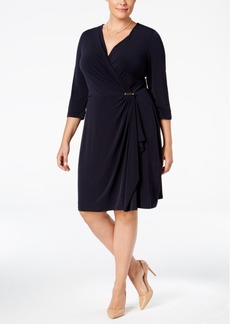 Charter Club Plus Size Faux-Wrap Dress, Only at Macy's