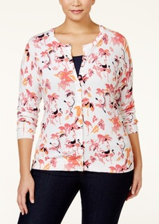 Charter Club Plus Size Flamingo-Print Cardigan, Only at Macy's