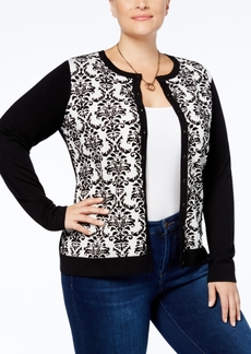 Charter Club Plus Size Flocked Cardigan, Created for Macy's