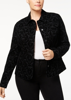 Charter Club Plus Size Flocked Denim Jacket, Created for Macy's