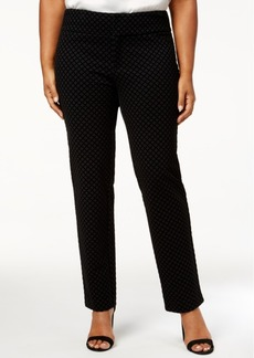 Charter Club Plus Size Flocked Ponte-Knit Pants, Created for Macy's