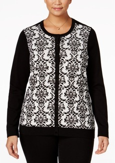 Charter Club Plus Size Flocked Scroll-Print Cardigan, Only at Macy's