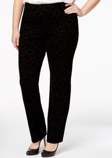 Charter Club Plus Size Flocked Scroll-Print Pants, Only at Macy's