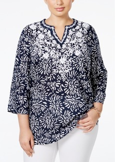 Charter Club Plus Size Floral Embroidered Linen Tunic, Only at Macy's