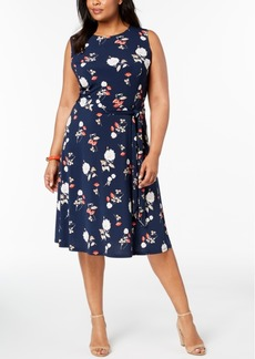 Charter Club Plus Size Floral-Print A-Line Dress, Created for Macy's