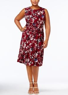 Charter Club Plus Size Floral-Print Belted Dress, Created for Macy's