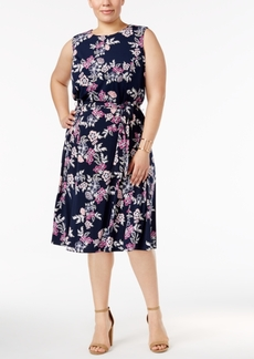 Charter Club Plus Size Floral-Print Belted Dress, Only at Macy's