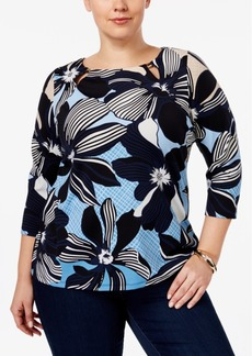 Charter Club Plus Size Floral-Print Boat-Neck Top, Only at Macy's