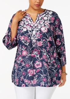 Charter Club Plus Size Floral-Print Embroidered Tunic, Created for Macy's