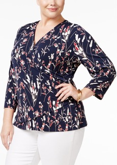 Charter Club Plus Size Floral-Print Faux-Wrap Top, Only at Macy's