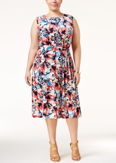 Charter Club Plus Size Floral-Print Fit & Flare Dress, Only at Macy's