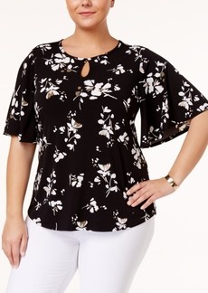 Charter Club Plus Size Floral-Print Kimono-Sleeve Top, Only at Macy's