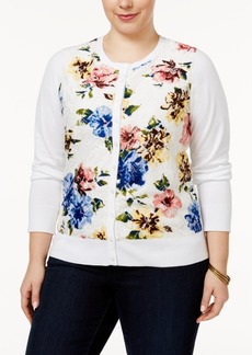 Charter Club Plus Size Floral-Print Lace Cardigan, Only at Macy's