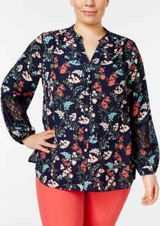 Charter Club Plus Size Floral-Print Lace-Inset Top, Only at Macy's