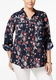 Charter Club Plus Size Floral-Print Shirt, Only at Macy's