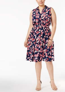 Charter Club Plus Size Floral-Print Shirtdress, Created for Macy's