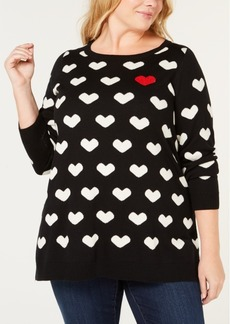 Charter Club Plus Size Heart-Print Tunic Sweater, Created for Macy's
