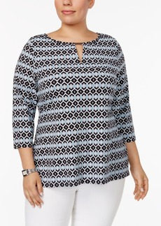 Charter Club Plus Size Keyhole Top, Only at Macy's