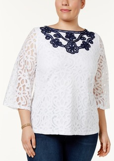 Charter Club Plus Size Lace 3/4-Sleeve Blouse, Only at Macy's