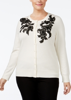 Charter Club Plus Size Lace-Applique Cardigan, Only at Macy's