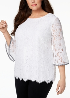 Charter Club Plus Size Lace Bell-Sleeve Top, Created for Macy's