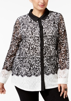 Charter Club Plus Size Lace Colorblocked Blouse, Only at Macy's